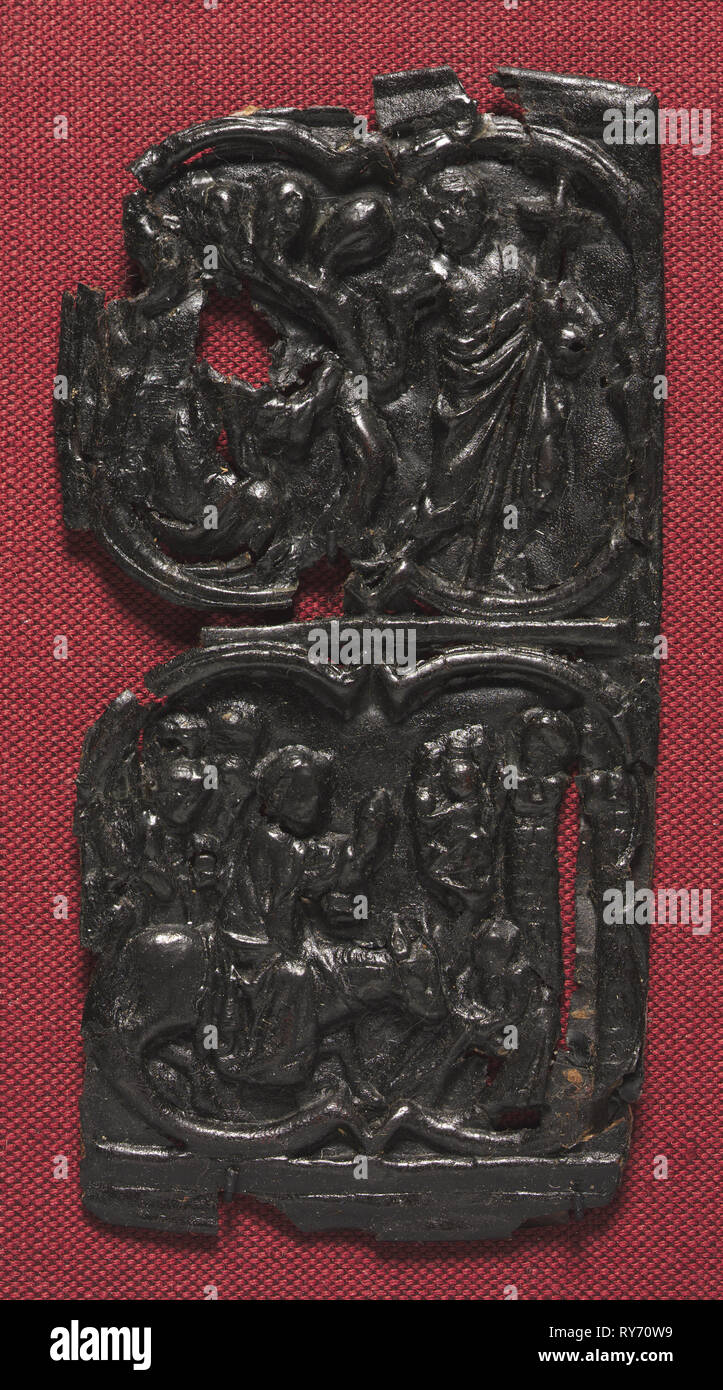 Leather Panel, c. 1350-1400. France, 14th century. Tooled leather; overall: 15.9 x 7.7 cm (6 1/4 x 3 1/16 in - Stock Image