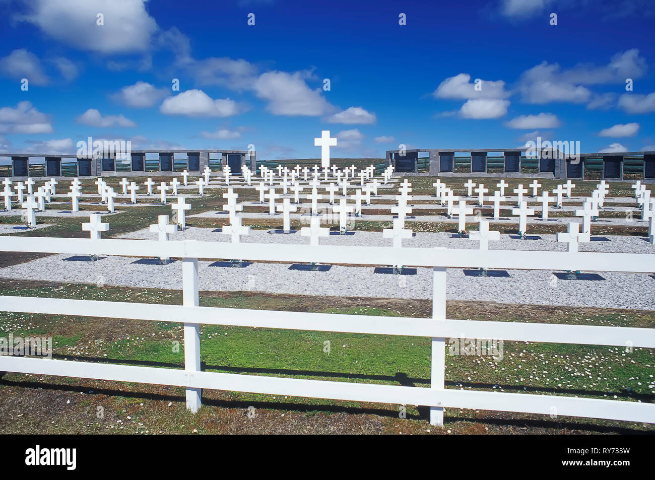 The Argentine Military Cemetery at Darwin, East Falkland, Falkland Islands, South Atlantic Stock Photo
