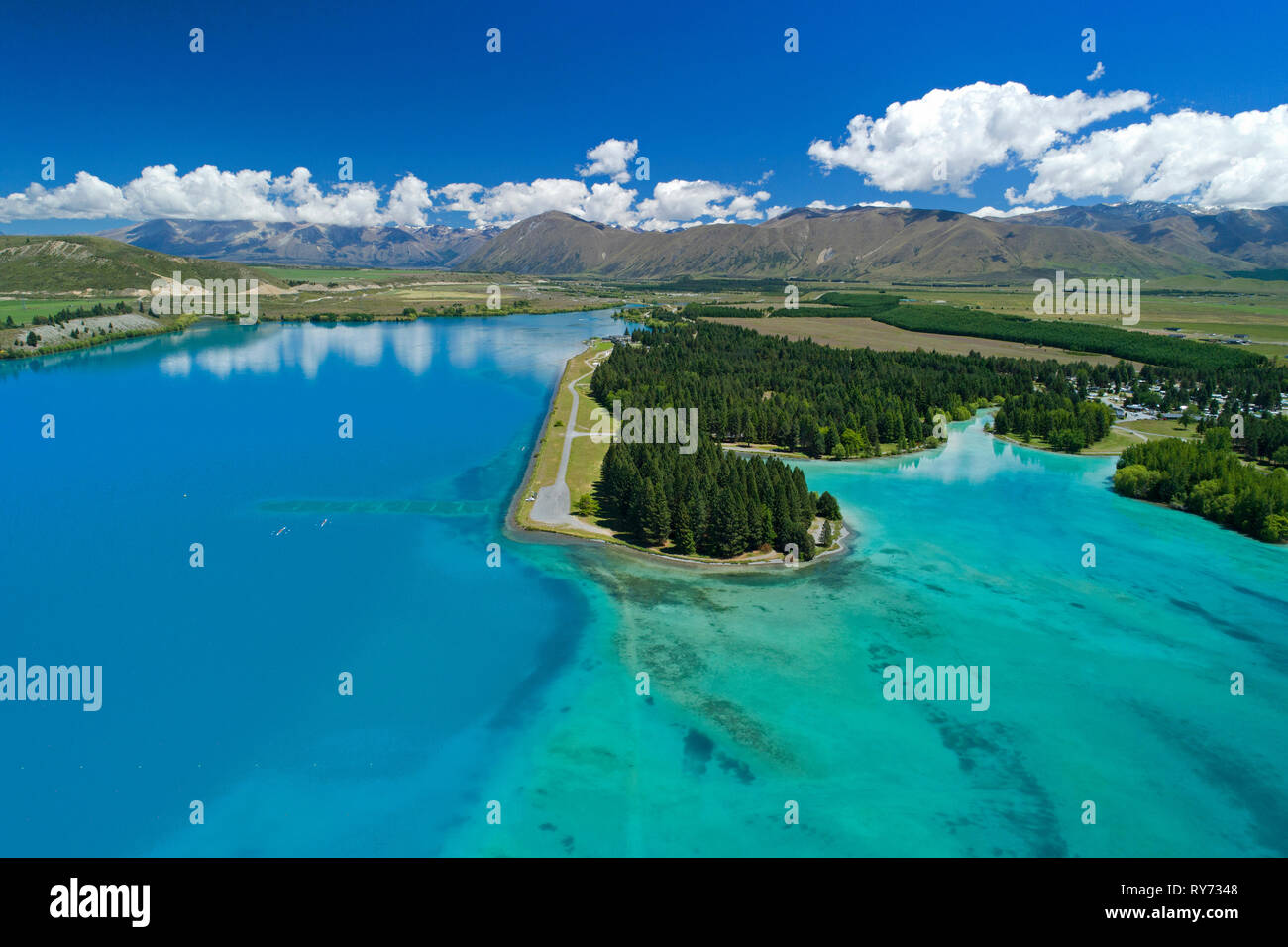 Lake Ruataniwha, and Ruataniwha Rowing Course, Mackenzie Country, South Island, New Zealand - aerial - Stock Image