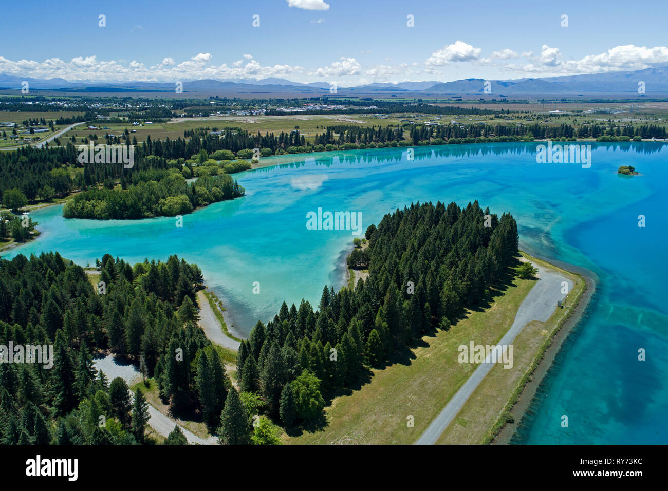 Lake Ruataniwha and Twizel, Mackenzie Country, South Island, New Zealand - aerial - Stock Image