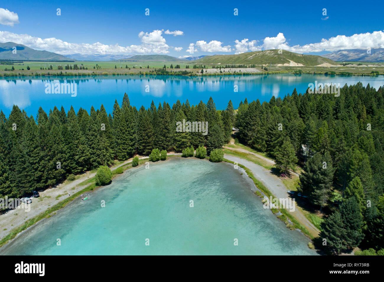 Lake Ruataniwha, Mackenzie Country, South Island, New Zealand - aerial - Stock Image
