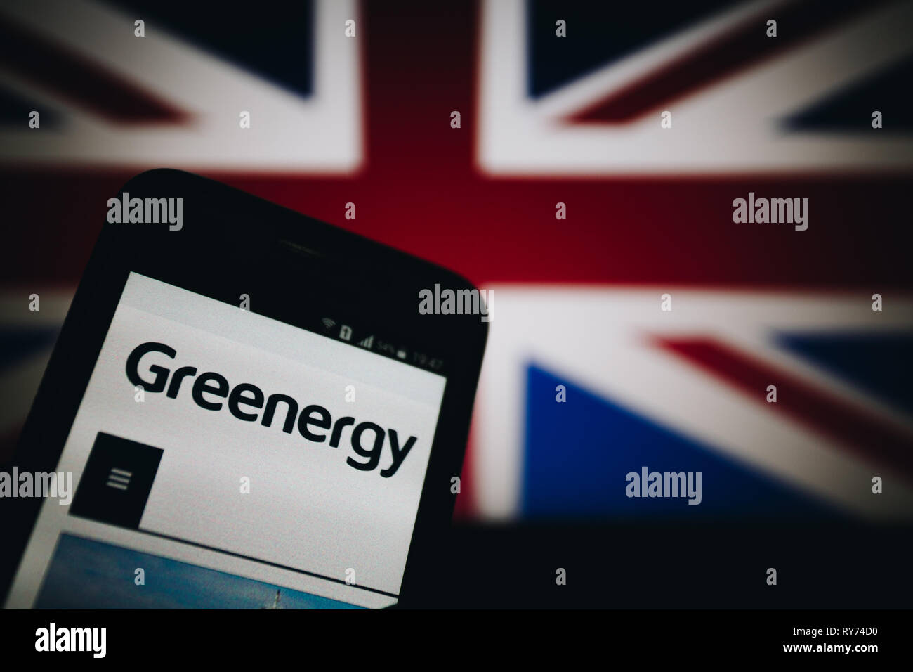 Greenergy, a British distributor of petrol and diesel for motor vehicles. Logo on its website is seen on a smartphone display - Stock Image