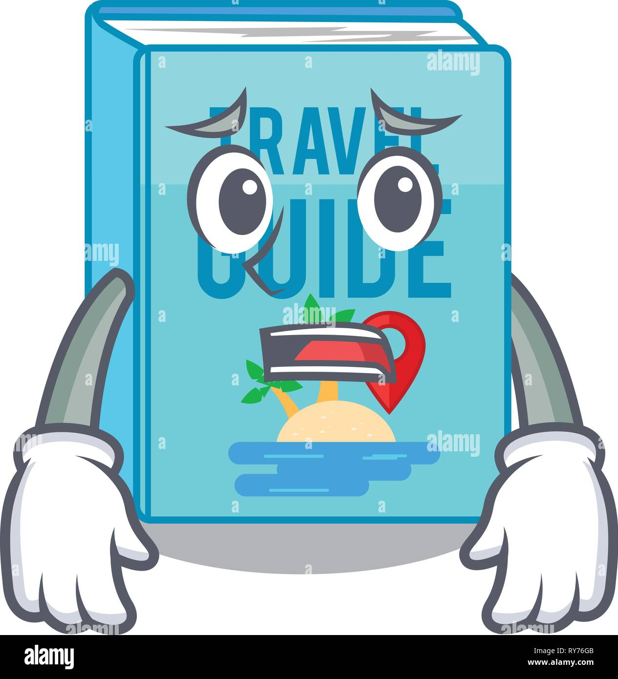 Afraid travel guide book placed rack character Stock Vector