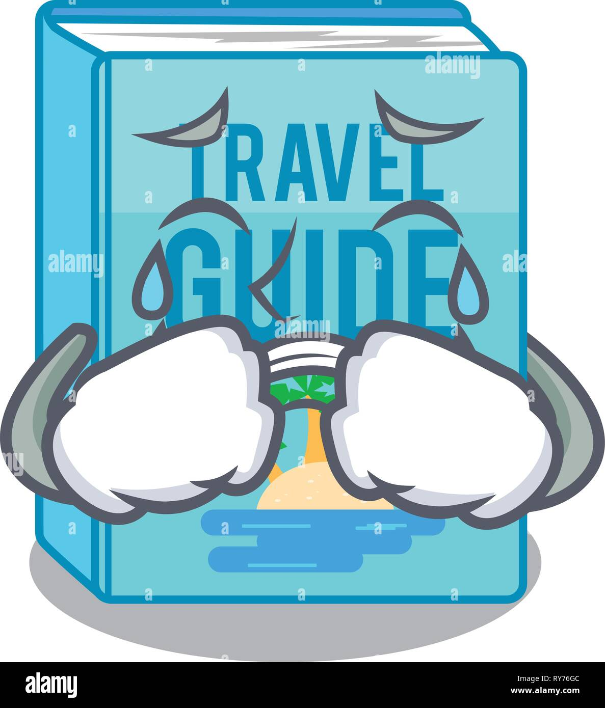 Crying travel guide book placed rack character Stock Vector