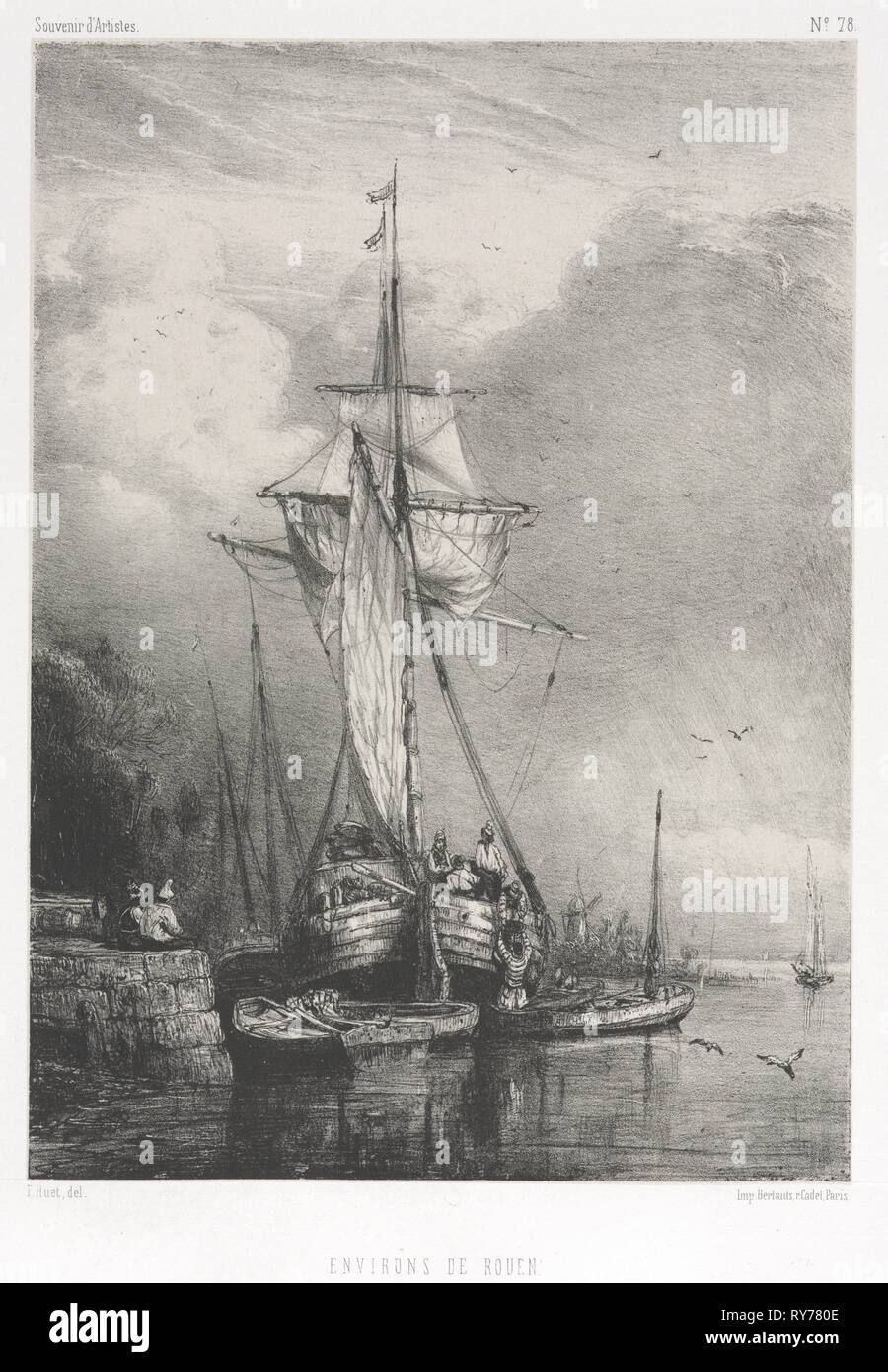 Souvenirs d' Artistes (No. 78): Six Marines: Environs de Rouen, 1832. Paul Hüet (French, 1803-1869). Lithograph on chine collé; sheet: 44.8 x 31.3 cm (17 5/8 x 12 5/16 in.); image: 22.7 x 16.4 cm (8 15/16 x 6 7/16 in - Stock Image