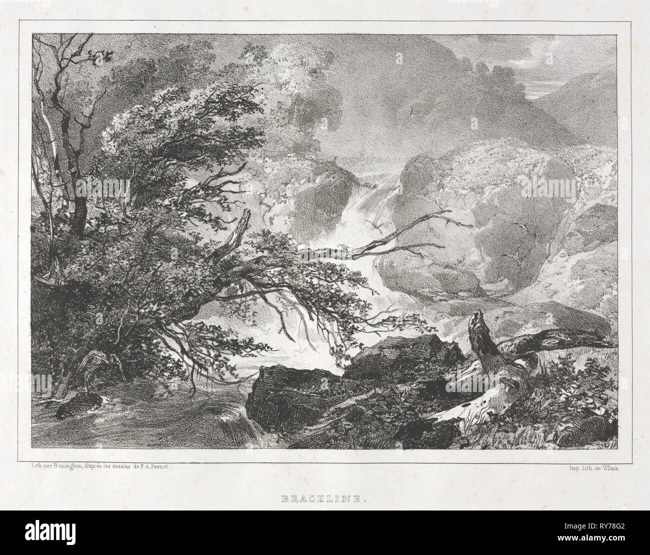 Picturesque Views of Scotland: Brackline, 1826. Richard Parkes Bonington (British, 1802-1828), after François Alexandre Pernot (French, 1793-1865). Lithograph; sheet: 25.5 x 34.2 cm (10 1/16 x 13 7/16 in.); image: 16 x 22.6 cm (6 5/16 x 8 7/8 in.); with black border: 17 x 23.7 cm (6 11/16 x 9 5/16 in - Stock Image