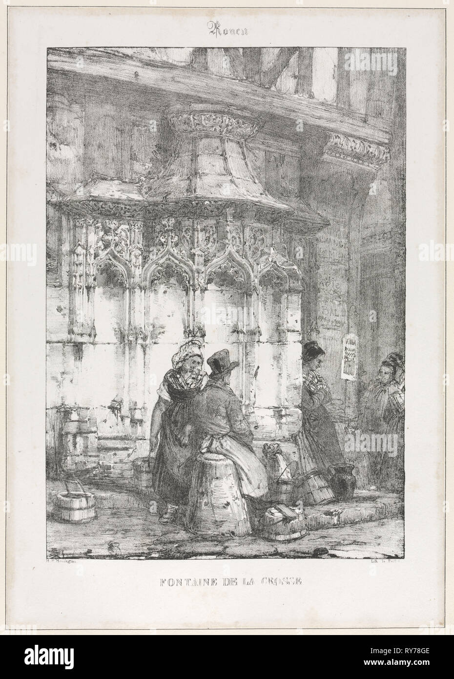 Architectural Remains and Fragments: Rouen - Fontaine de la Crosse, 1827. Richard Parkes Bonington (British, 1802-1828), after François Alexandre Pernot (French, 1793-1865). Lithograph on chine collé tipped into mount; sheet: 52.1 x 33.6 cm (20 1/2 x 13 1/4 in.); platemark: 23.2 x 16.3 cm (9 1/8 x 6 7/16 in.); with black border: 28 x 20 cm (11 x 7 7/8 in - Stock Image