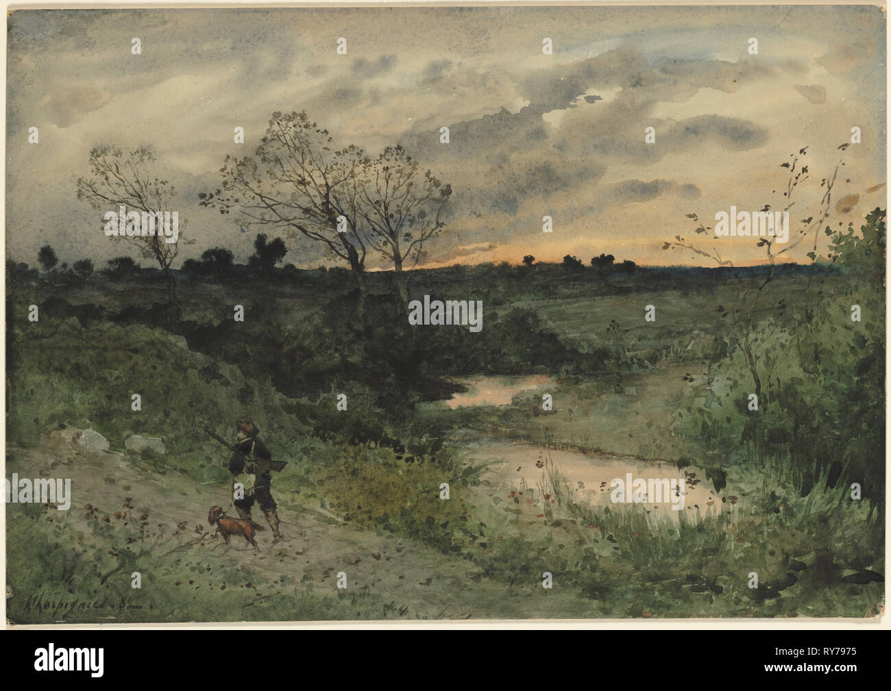 Dawn--Hunter with Dog, 1882. Henri Joseph Harpignies (French, 1819-1916). Watercolor; sheet: 37.6 x 53.5 cm (14 13/16 x 21 1/16 in - Stock Image