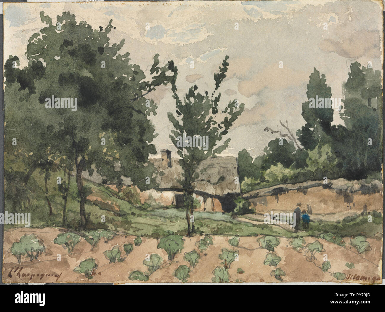 Landscape with Farmhouse, 1892. Henri Joseph Harpignies (French, 1819-1916). Watercolor with graphite underdrawing; sheet: 12 x 16.9 cm (4 3/4 x 6 5/8 in - Stock Image