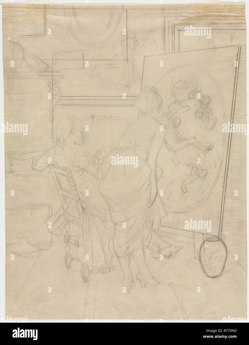 Cartoon for The Opinion of the Model. Charles Bargue (French, 1826-1883). Graphite with red colored pencil; sheet: 28.8 x 22 cm (11 5/16 x 8 11/16 in - Stock Image