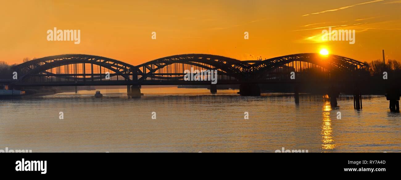 Freeport Elbe Bridge, steel bridge over the Elbe at sunset, Hamburg, Germany - Stock Image