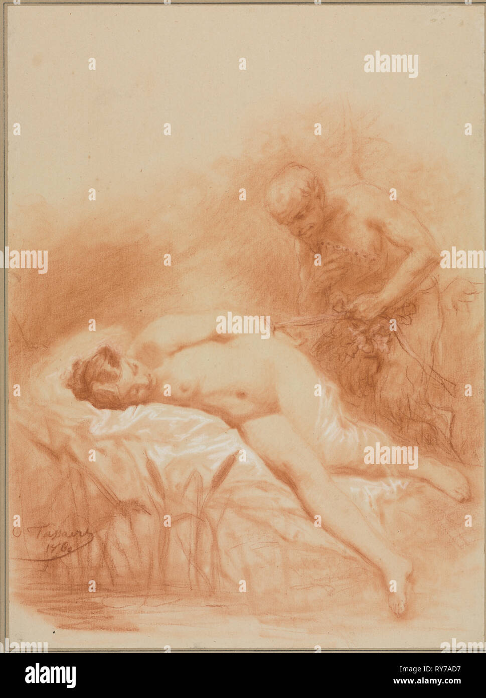 Nymphe et Faune, 1800s. Octave Tassaert (French, 1800-1874). Red chalk heightened with white chalk on off-white wove paper, pasted down.; sheet: 33.8 x 25.1 cm (13 5/16 x 9 7/8 in - Stock Image