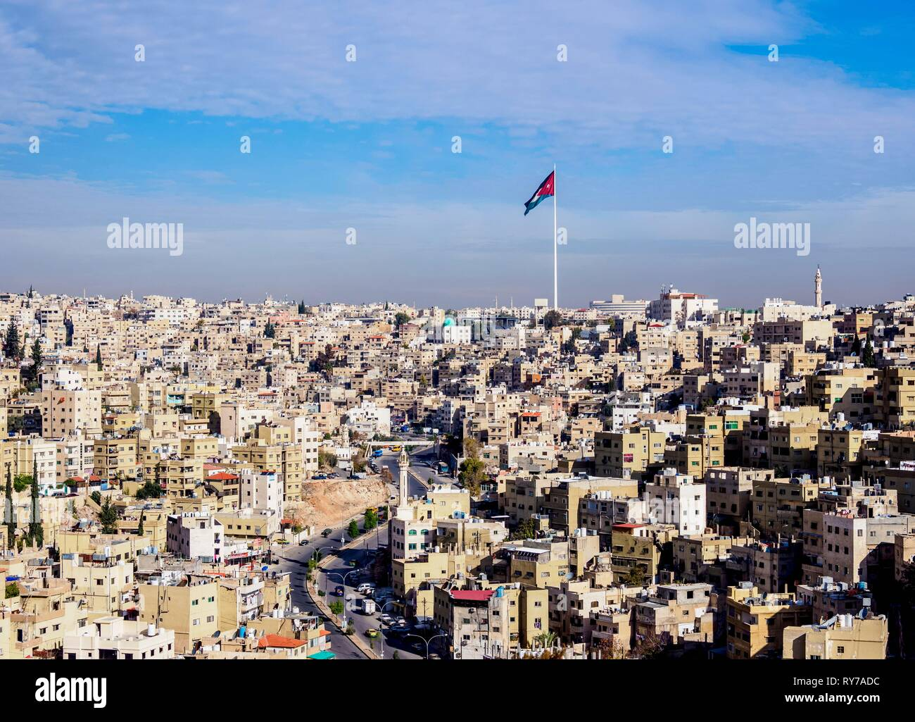 Cityscape with Raghadan Flagpole seen from Citadel Hill, Amman, Amman Governorate, Jordan - Stock Image