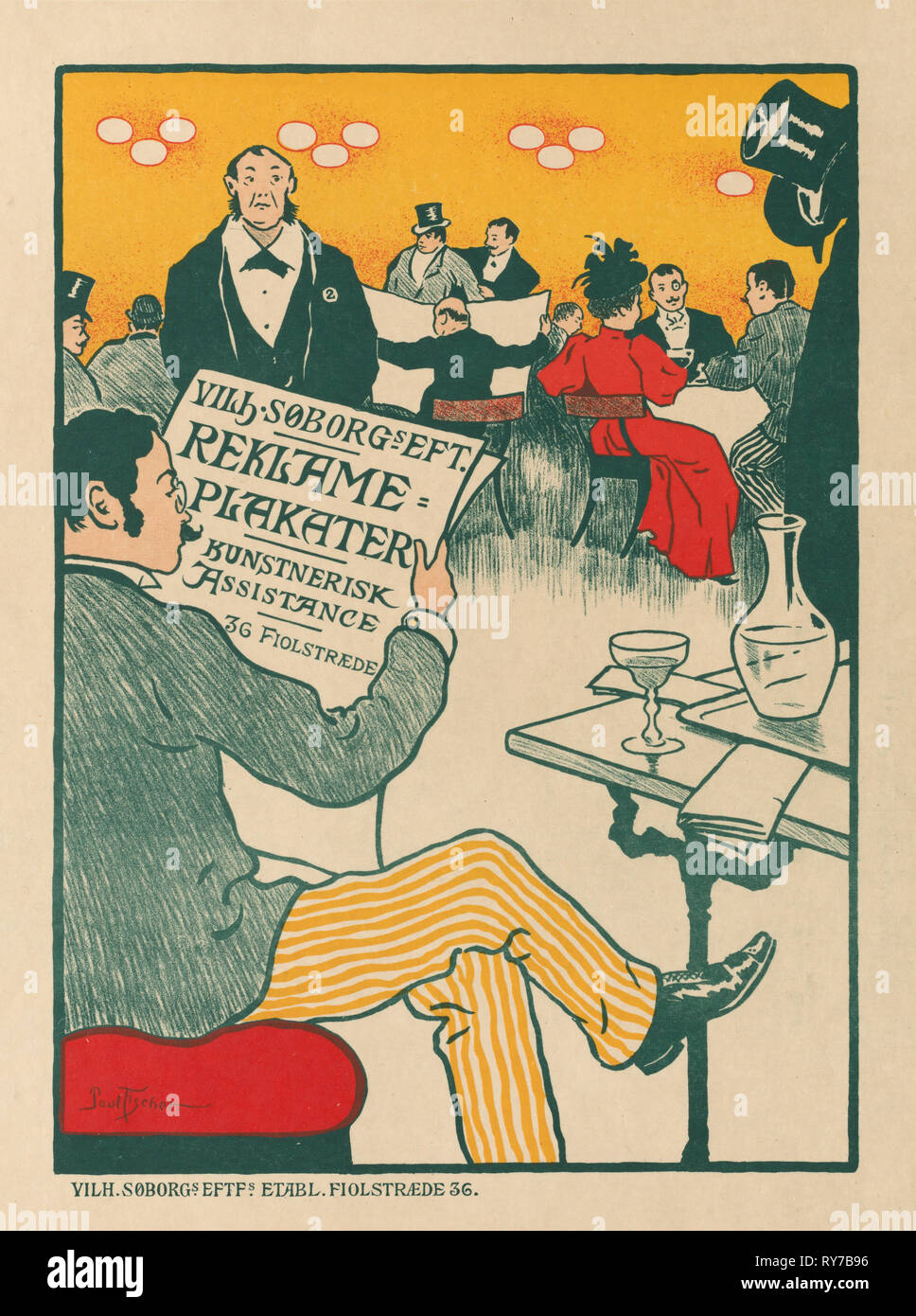 Masters of the Poster: Poster for Exhibition of Artistic Posters of Wilhelm Söborg , c. 1895. Paul Gustav Fischer (Danish, 1860-1934), Soborg, Copenhagen. Color lithograph; sheet: 39.9 x 28.9 cm (15 11/16 x 11 3/8 in.); image: 27.6 x 20 cm (10 7/8 x 7 7/8 in - Stock Image