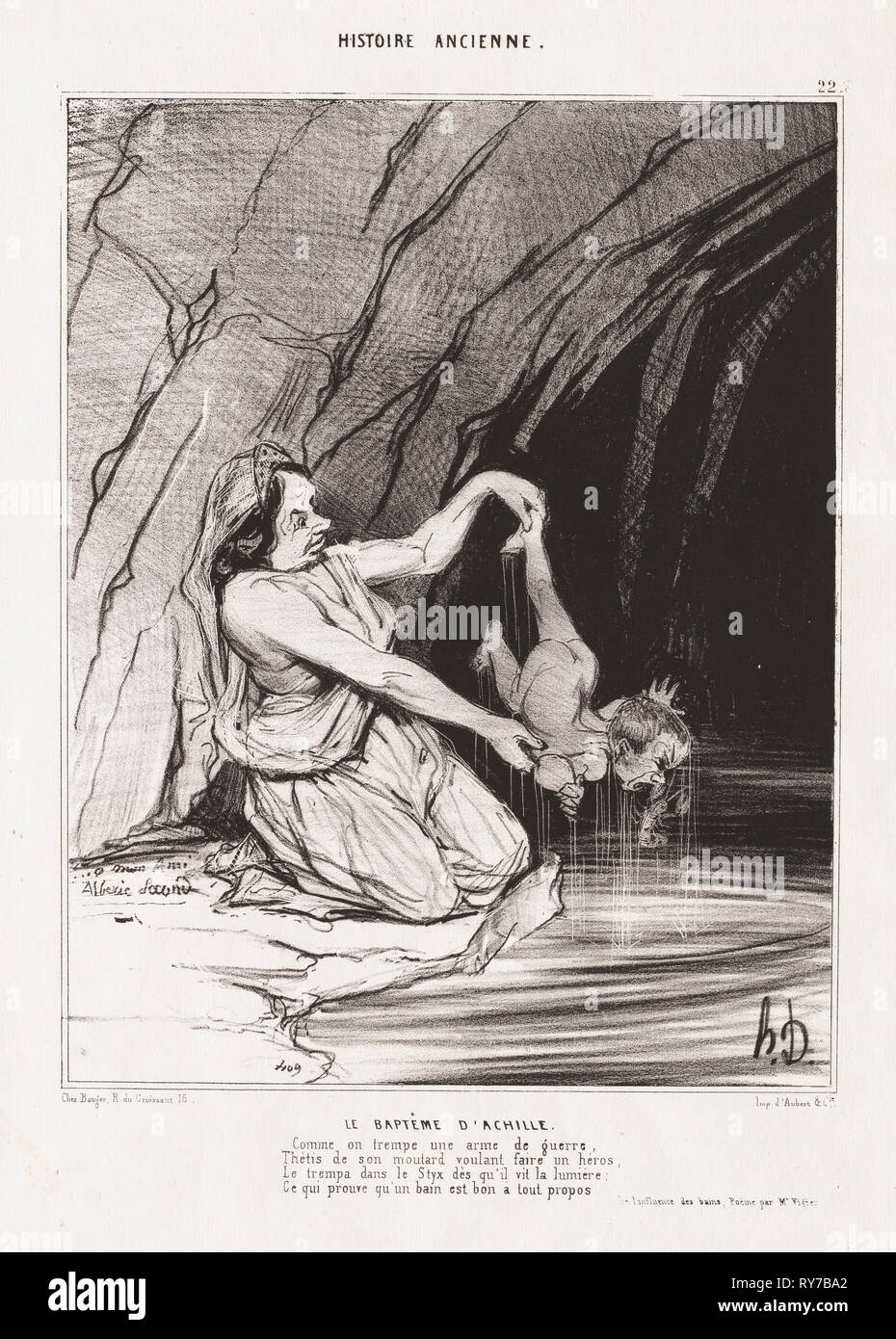 Ancient History: Pl. 22, The Baptism of Achilles . Honoré Daumier (French, 1808-1879). Lithograph; sheet: 33.6 x 25.5 cm (13 1/4 x 10 1/16 in.); image: 20.3 x 19.7 cm (8 x 7 3/4 in - Stock Image