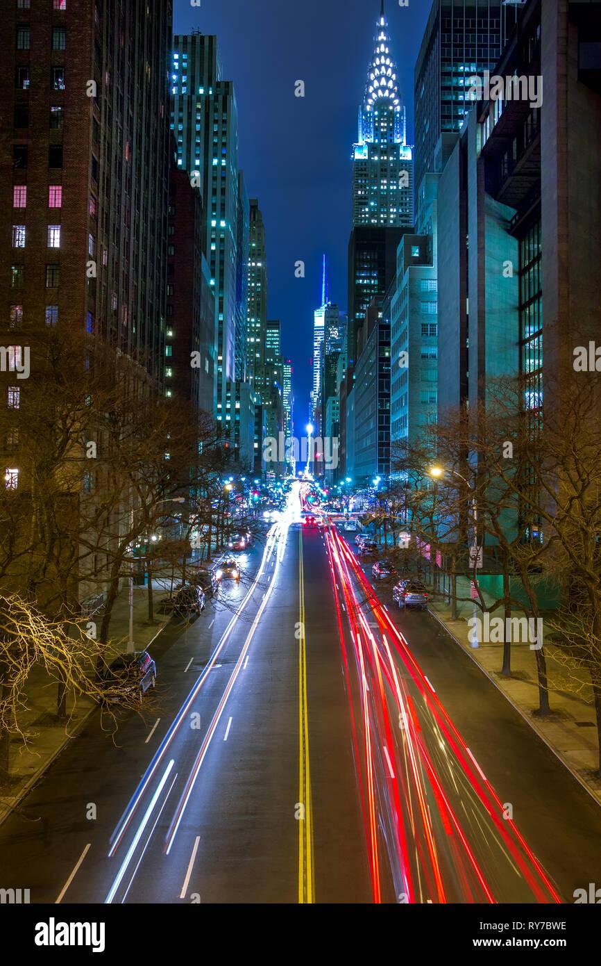 New York City Night Traffic On 42nd Manhattan Street Car Headlights Traffic Lights And Street Lamps Stock Photo Alamy