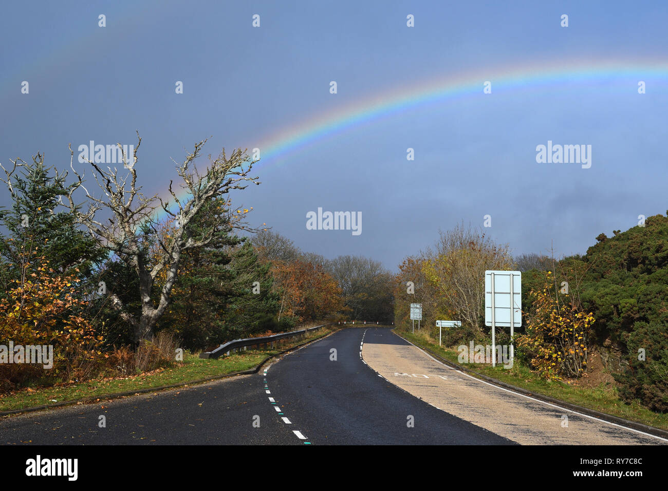 rainbow over berriedale braes;caithness and sutherland;scotland - Stock Image