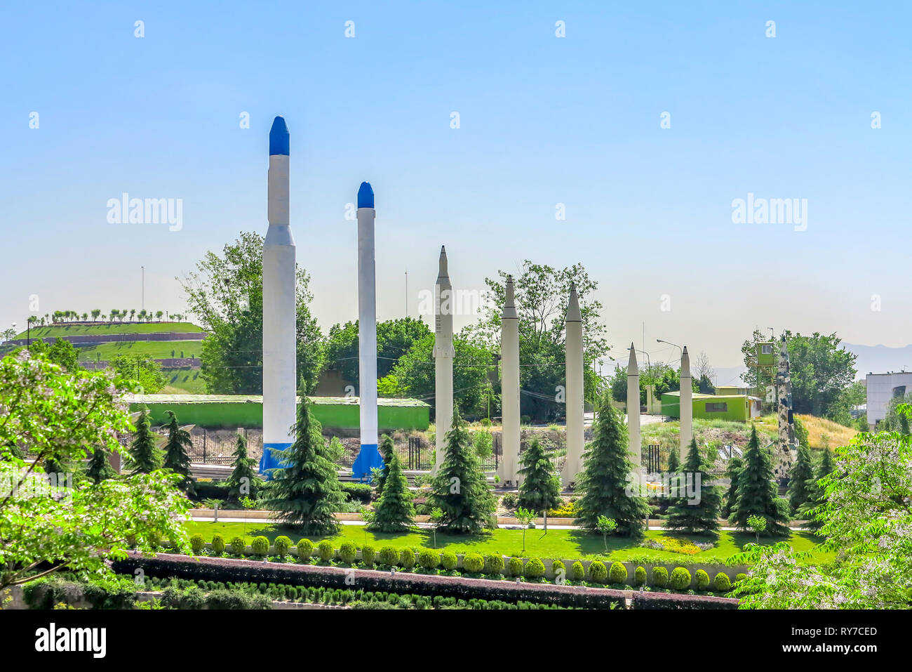 Tehran Ab-o Atash Park with View of Ballistic Missile Rockets - Stock Image