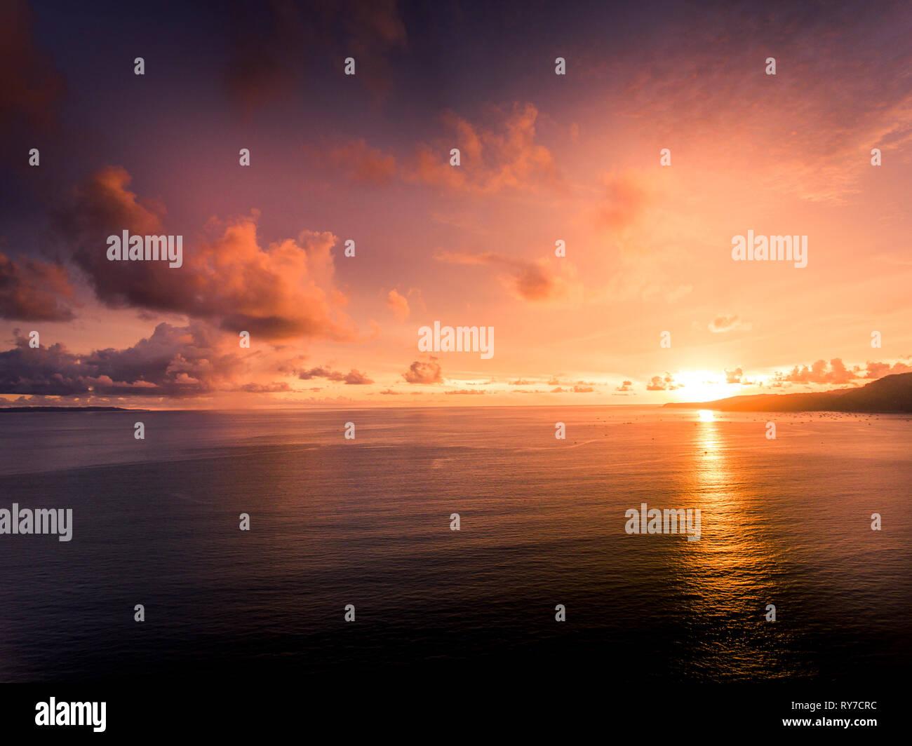 Beautiful sunset in Cisolok, Pelabuhan Ratu, West Java - Stock Image