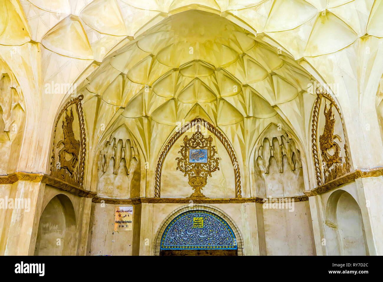 Kashan Boroujerd Historical House Entrance Gate with Muqarna Ahoopay Honeycomb Stalactite Vaulting - Stock Image