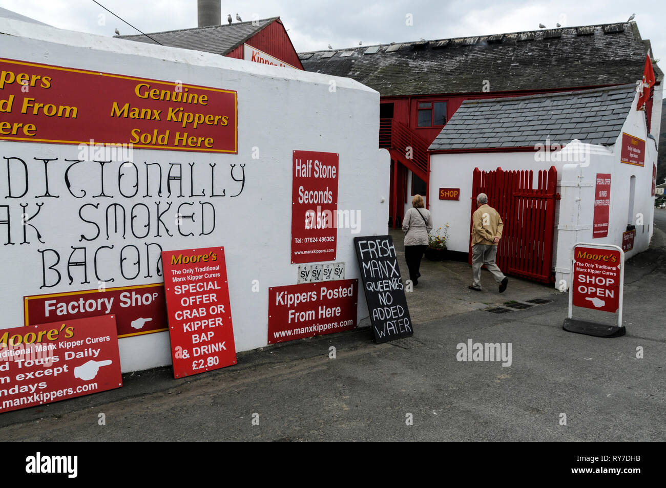 Moors traditional Kipper smoking and smoked bacon in Peel on the west coast of the Isle of Man, Britain.   Moors has run the family business since 177 - Stock Image
