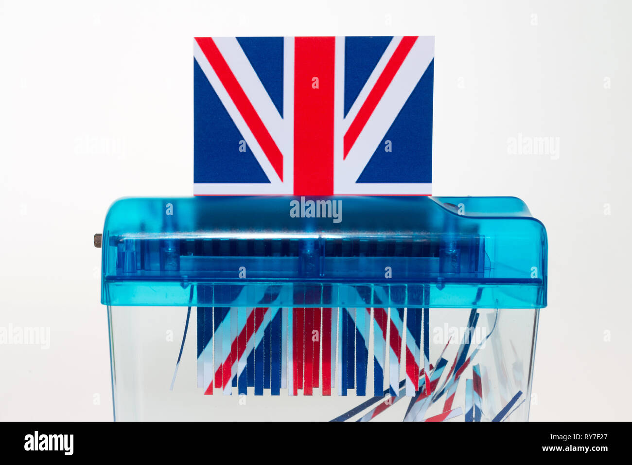 Union Jack in the shredder. - Stock Image