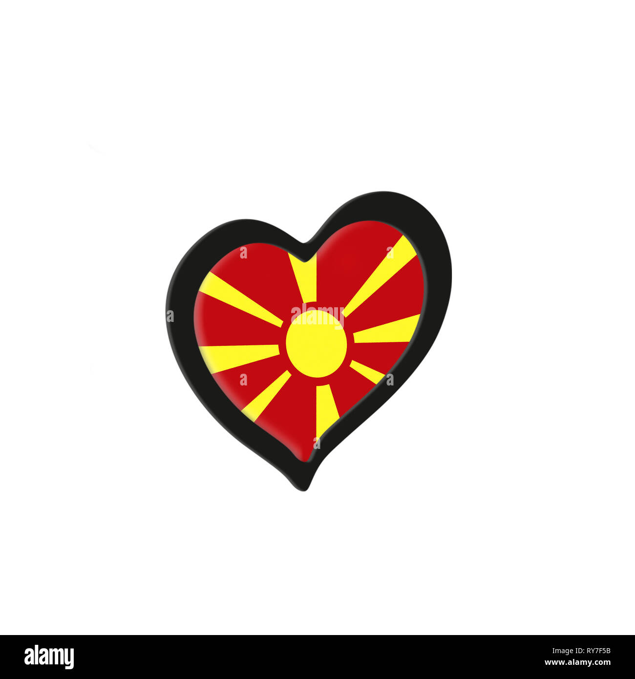 Macedonia Flag Inside Heart. Eurovision Song Contest concept on a white background. 3d Rendering - Stock Image