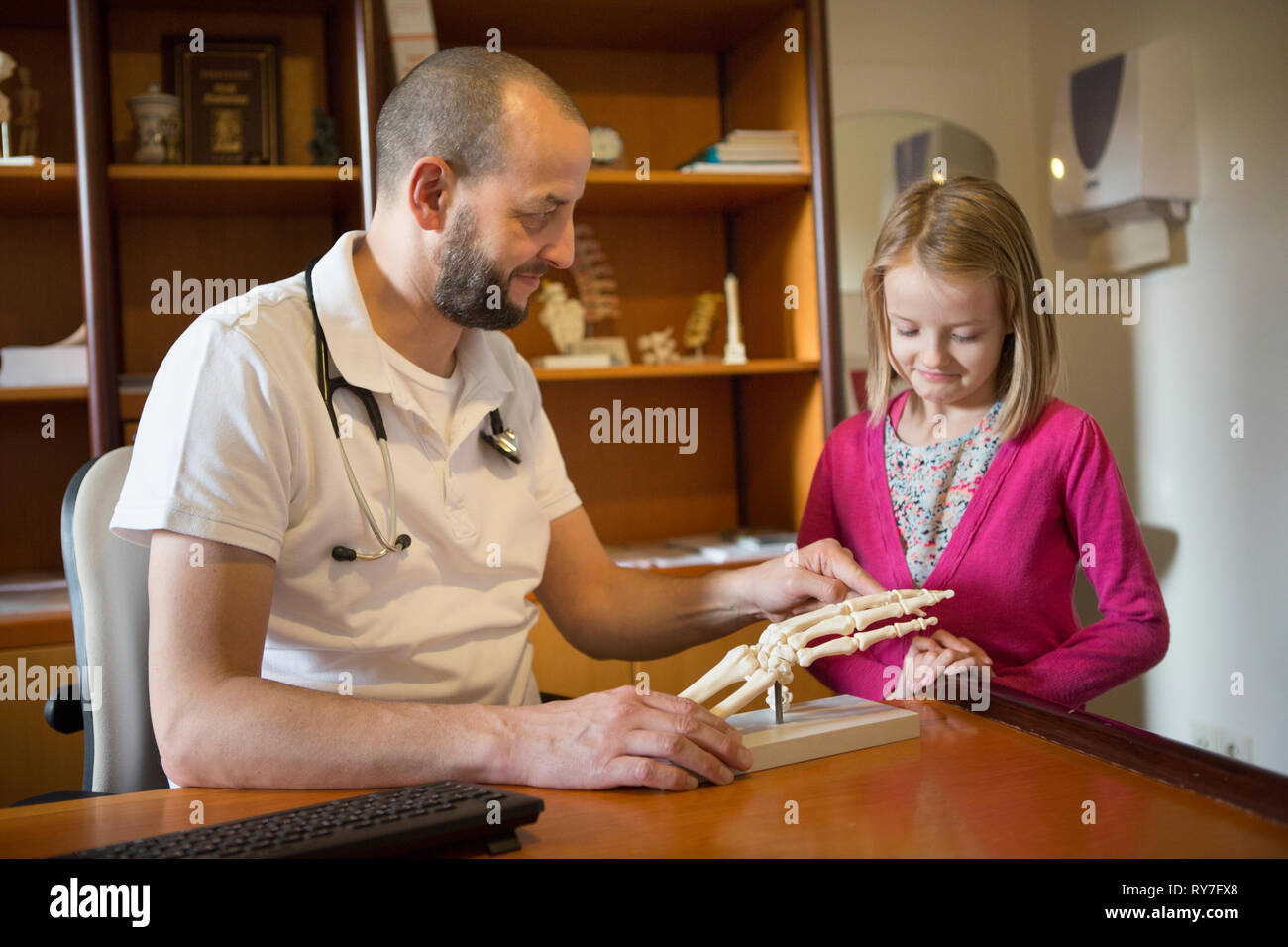 Doctor showing a child a replica model of the bones in a human hand - Stock Image