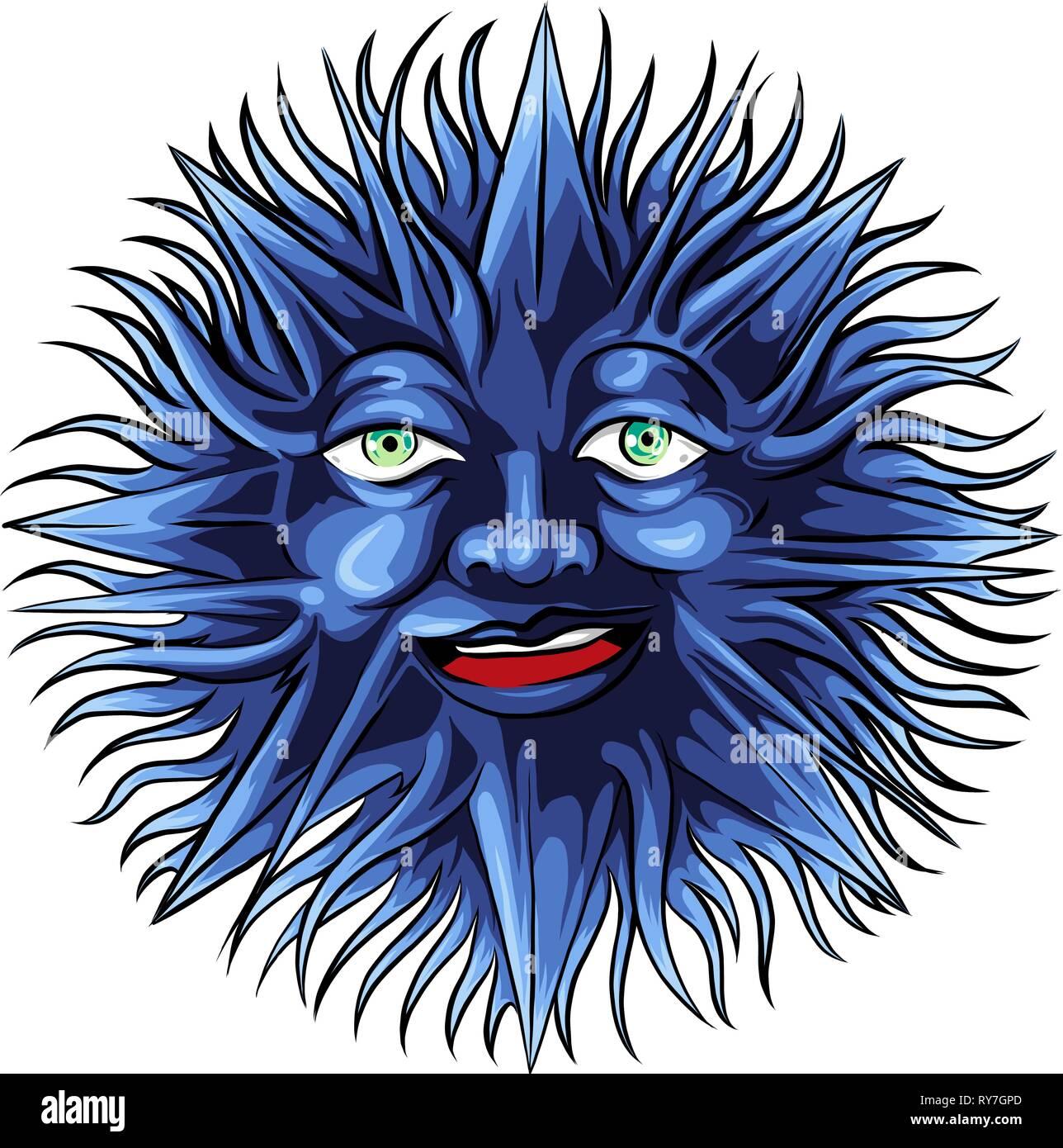 face tattoo of a sun vector illustration - Stock Vector