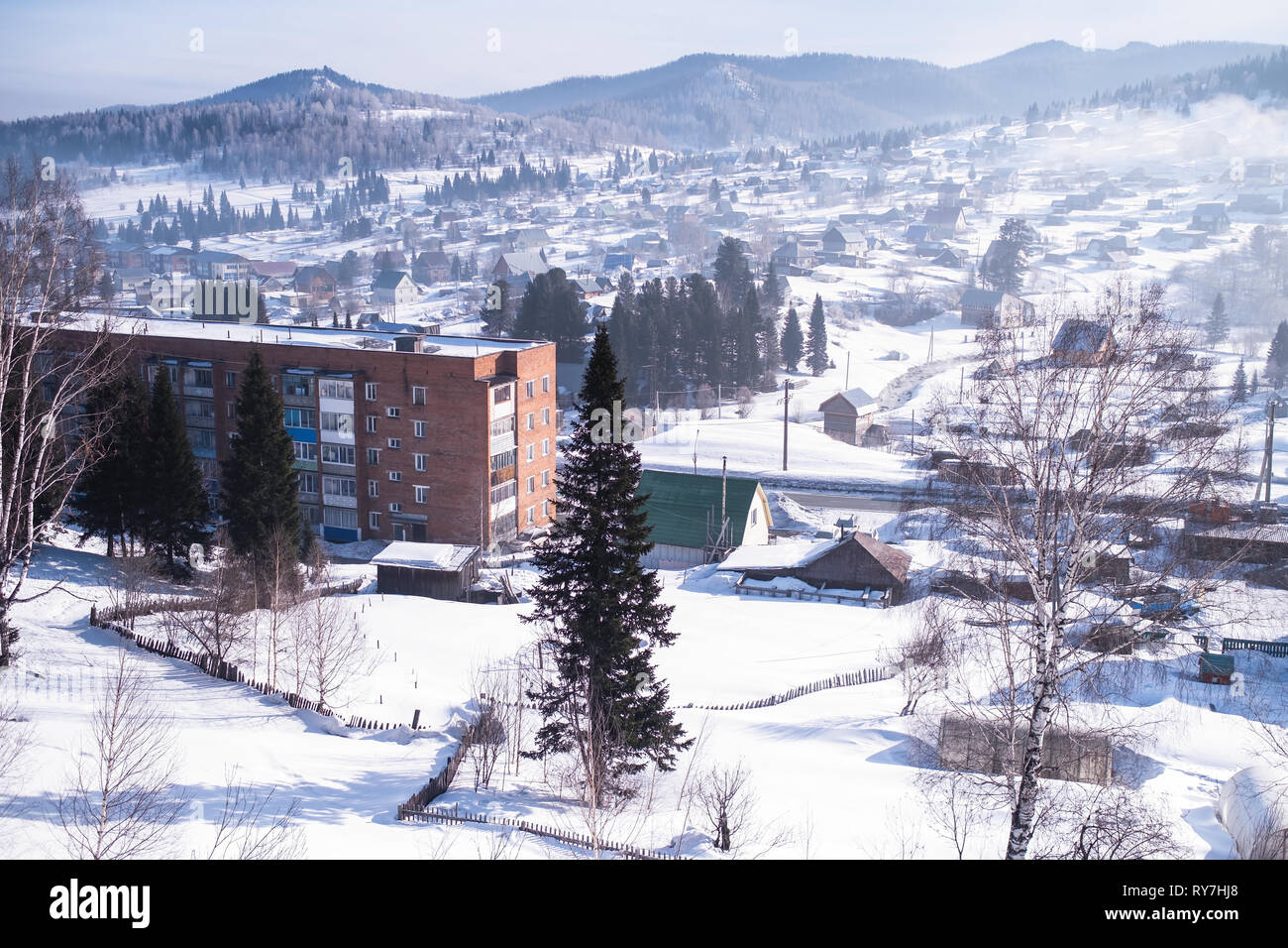View of the Sheregesh village in Mountain Shoria, Siberia, Russia. - Stock Image