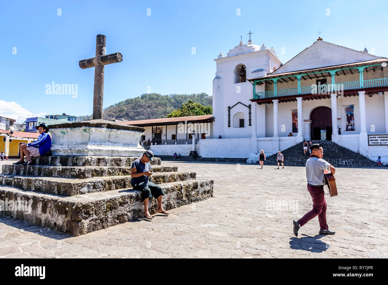 Santiago Atitlan, Lake Atitlan, Guatemala - March 8, 2019: Catholic church & plaza in lakeside town in Guatemalan highlands. Stock Photo