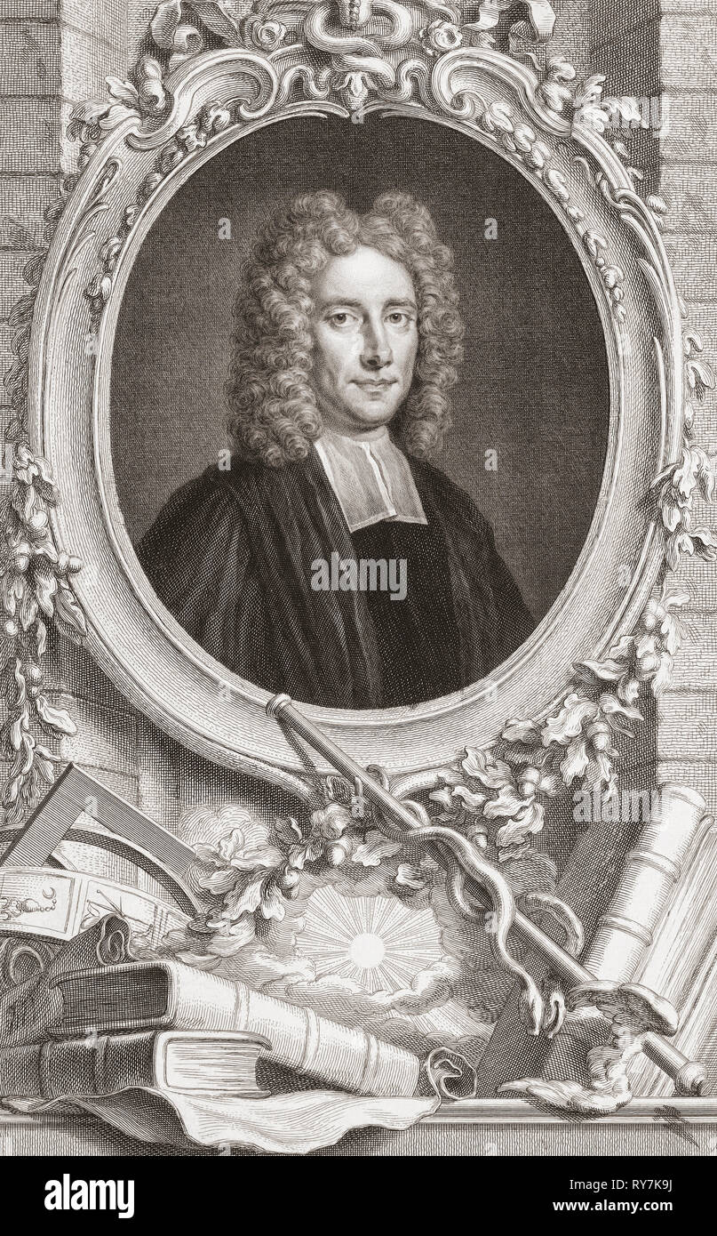 Samuel Clarke, 1675-1729.  English philosopher and Anglican clergyman.  From the 1813 edition of The Heads of Illustrious Persons of Great Britain, Engraved by Mr. Houbraken and Mr. Vertue With Their Lives and Characters. - Stock Image