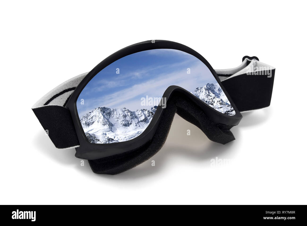 Ski goggles with reflection of winter snowy mountains. Isolated on white background - Stock Image
