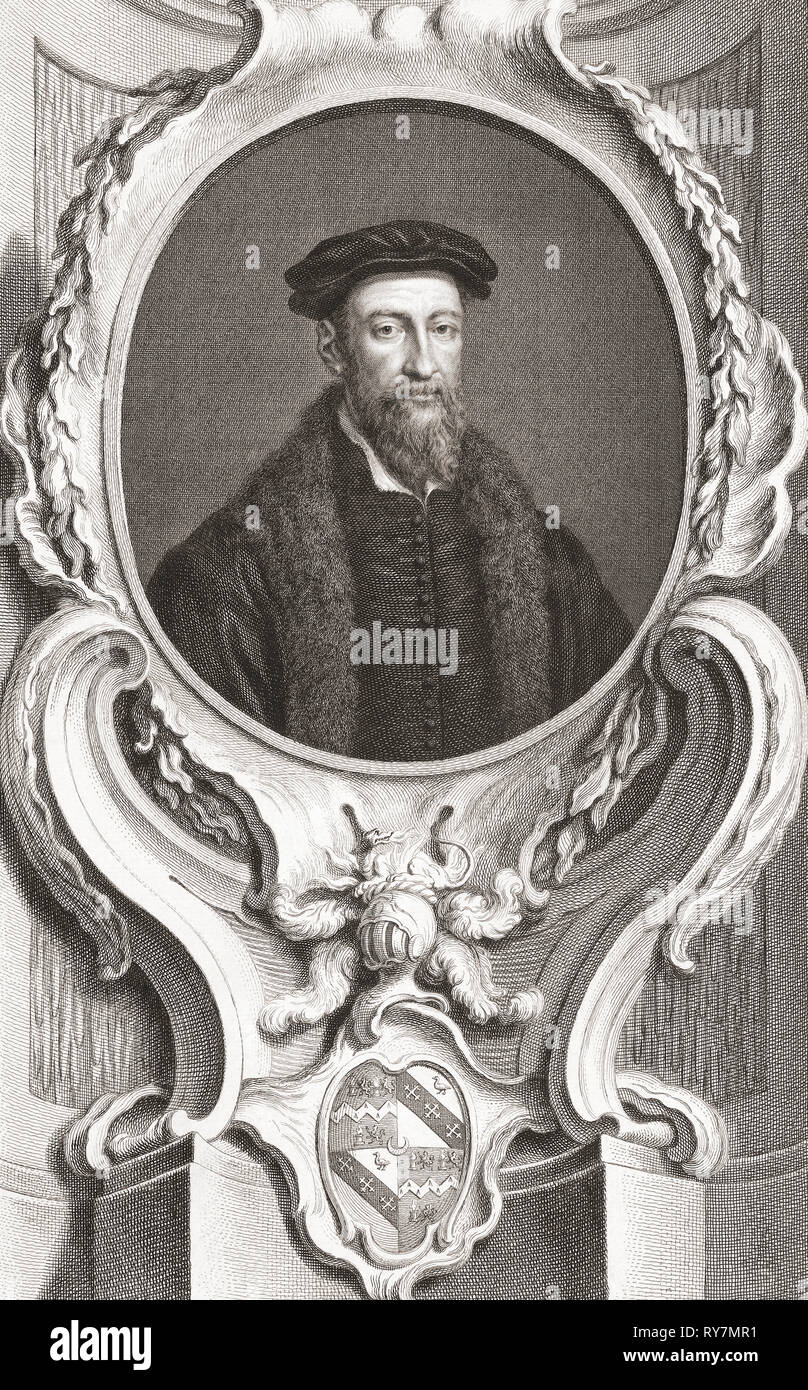 Sir Thomas Smith, 1513 -1577.  English scholar, parliamentarian and diplomat.  From the 1813 edition of The Heads of Illustrious Persons of Great Britain, Engraved by Mr. Houbraken and Mr. Vertue With Their Lives and Characters. - Stock Image