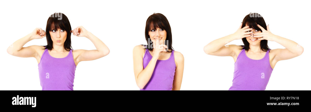 A young woman imitates the famous three monkeys. She covers her ears, mouth and eyes. Isolated against a white background. - Stock Image