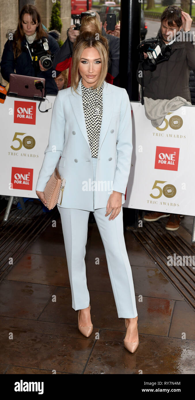 Photo Must Be Credited ©Alpha Press 079965 12/03/2019  Megan McKenna at The Tric Awards 50th Anniversary 2019 held at The Grosvenor House Hotel in London - Stock Image