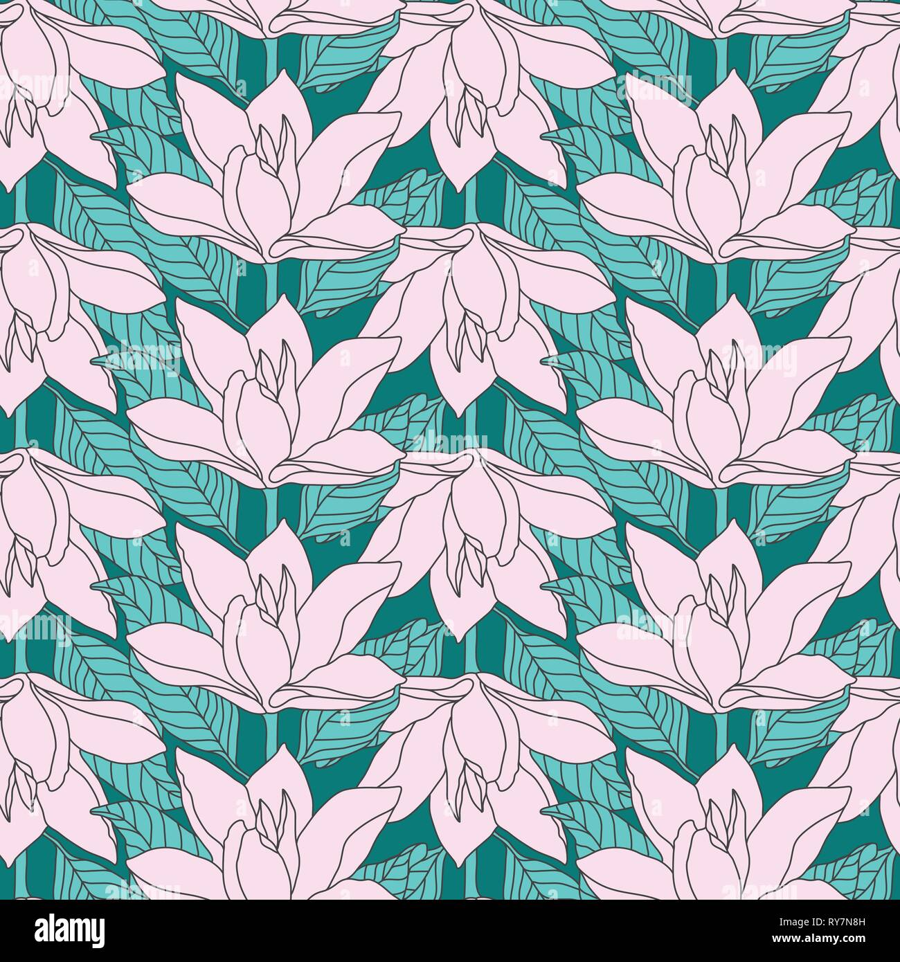 Pink Magnolia Line Drawing Flower Seamless Pattern. Unique