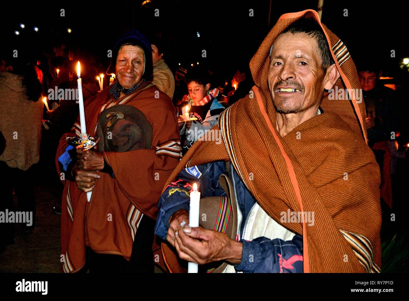Dolores Virgin Procession in Holy Week  in CHACAS - National park HUASCARAN. Department of Ancash.PERU    											  					  			 	  	  			 	    	 - Stock Image