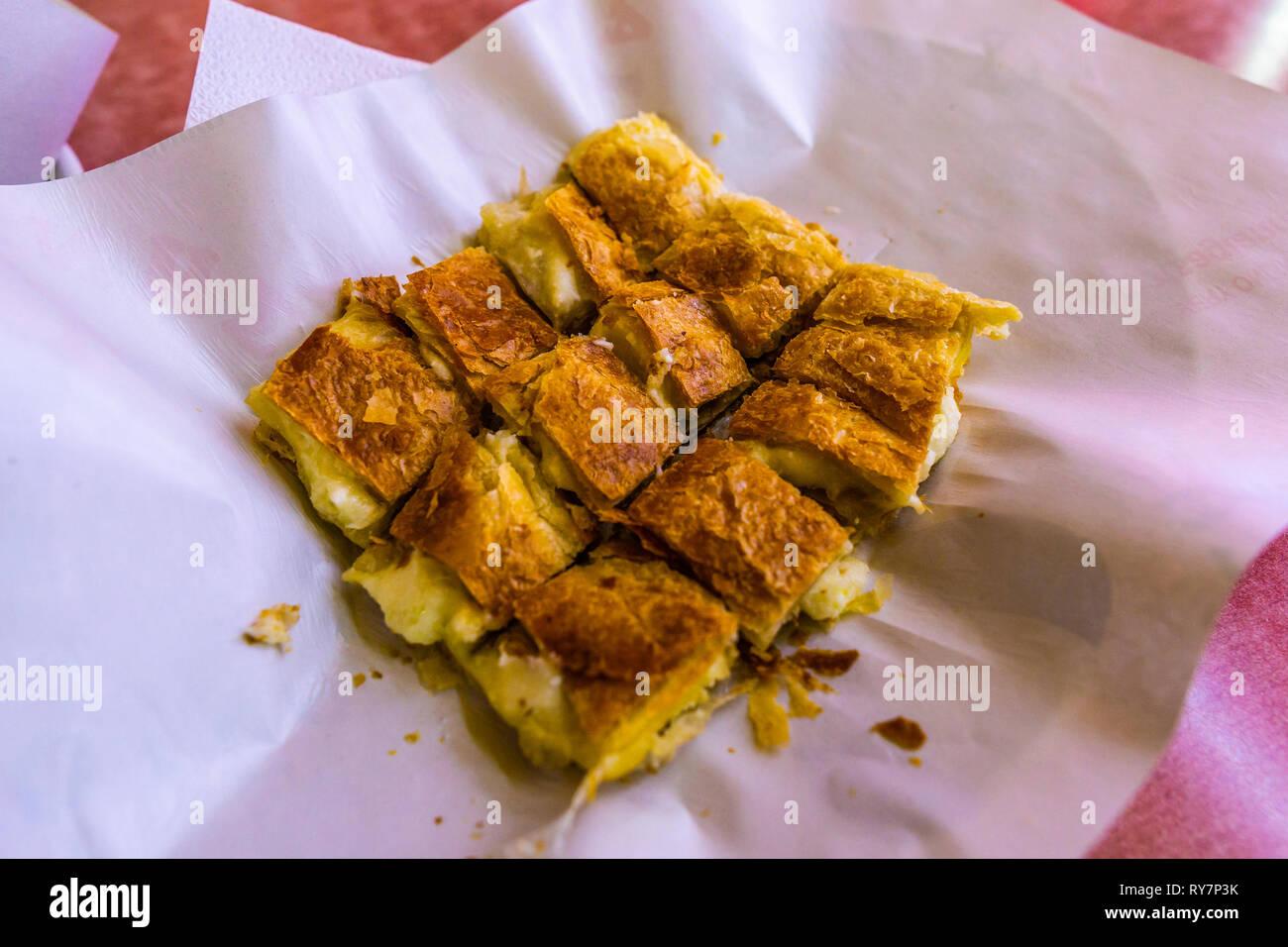 Greek Traditional Bougatsa Phyllo Tyropita Filled with Feta Cheese Stock Photo