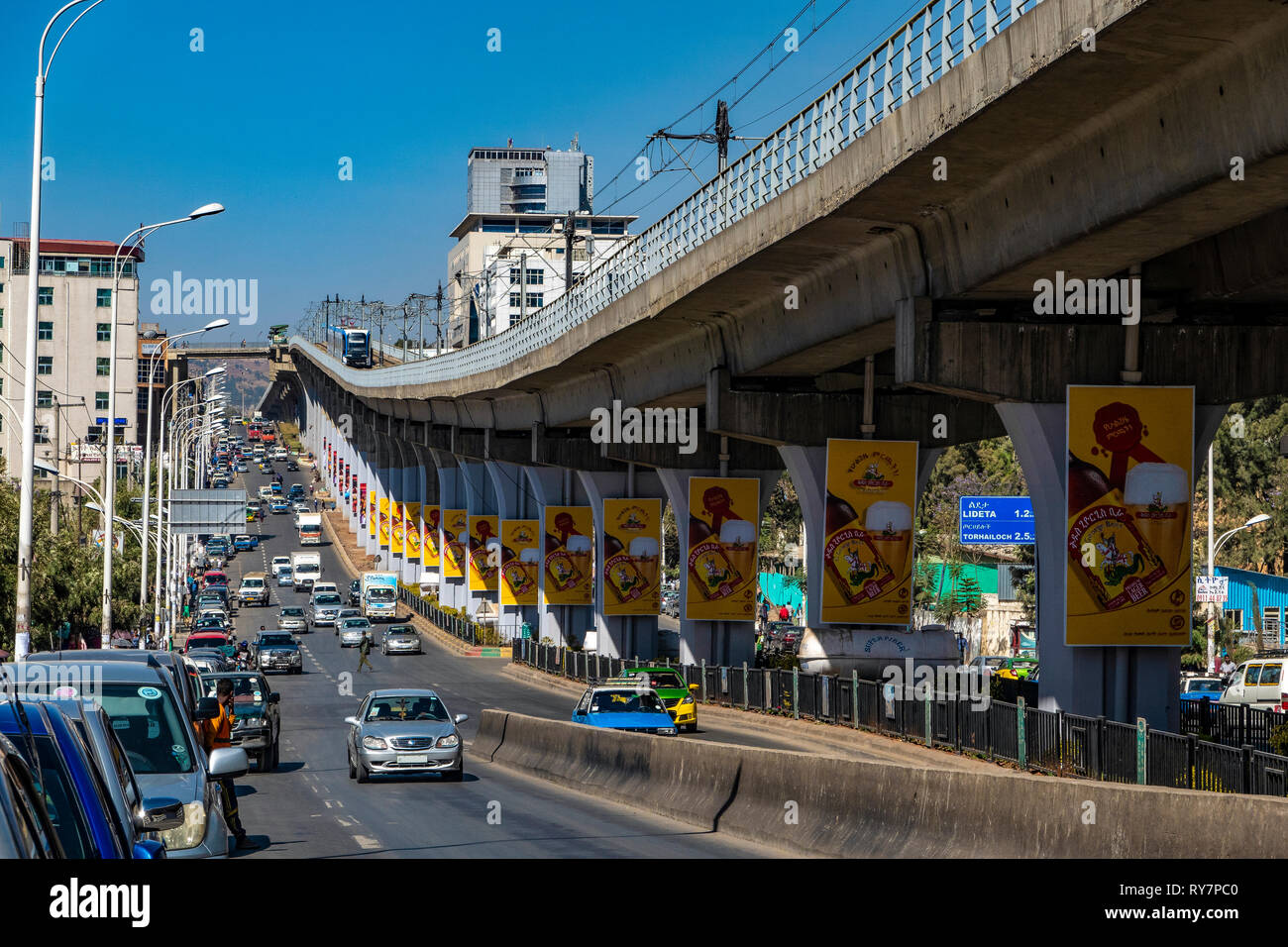 ETHOPIA, ADDIS ABABA, elevated railway line above the central Chad road in the city center oft the Ethopian capital - Stock Image