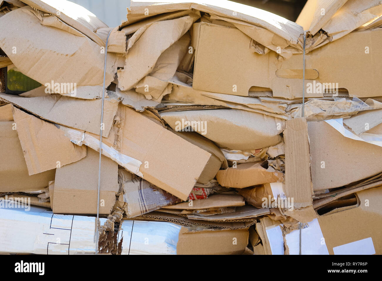 Waste paper from boxes and cardboard, the fee for recycling Stock Photo