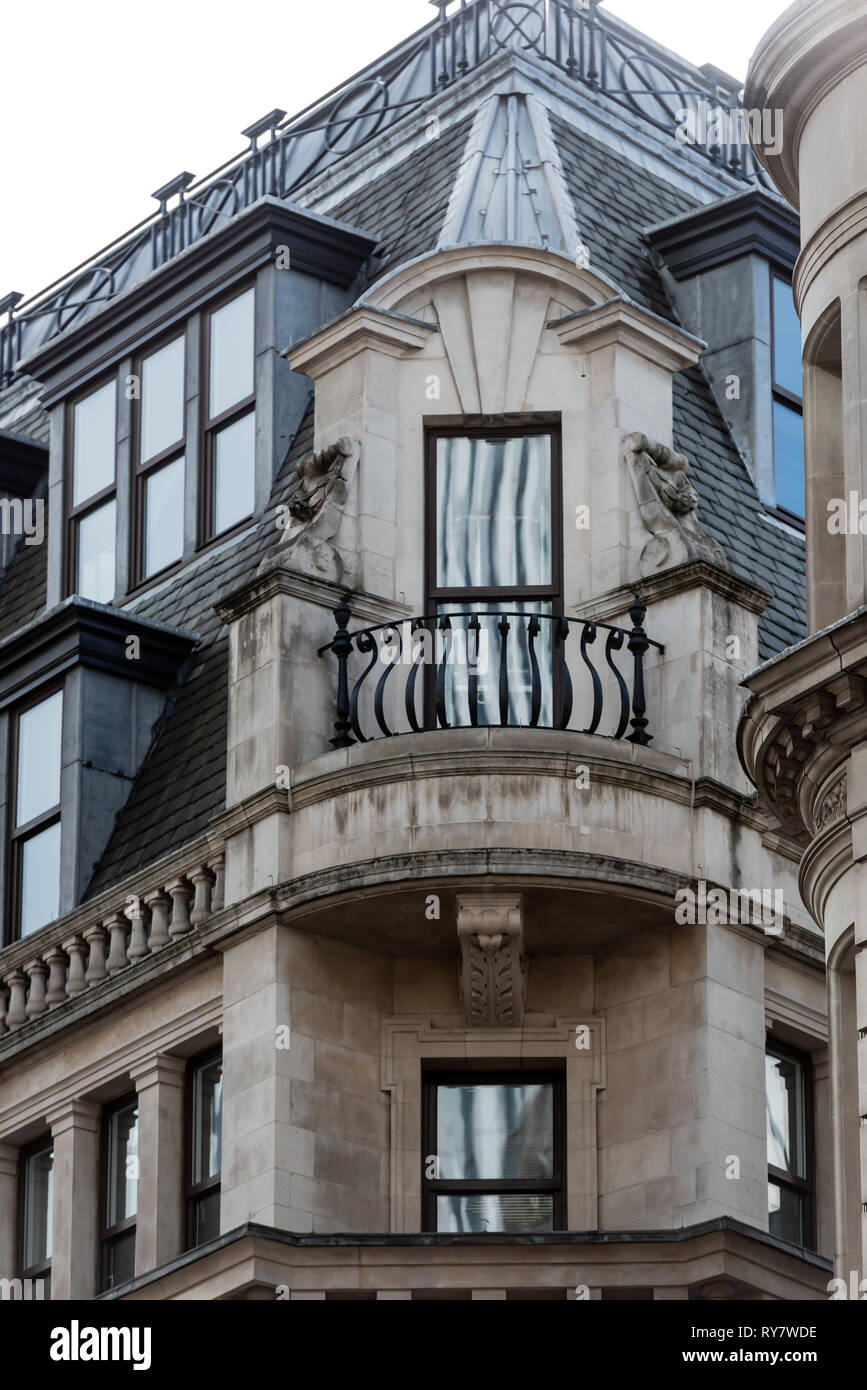 Looking more at home in a French chateaux, this balcony adorns an office in Eastcheap - Stock Image