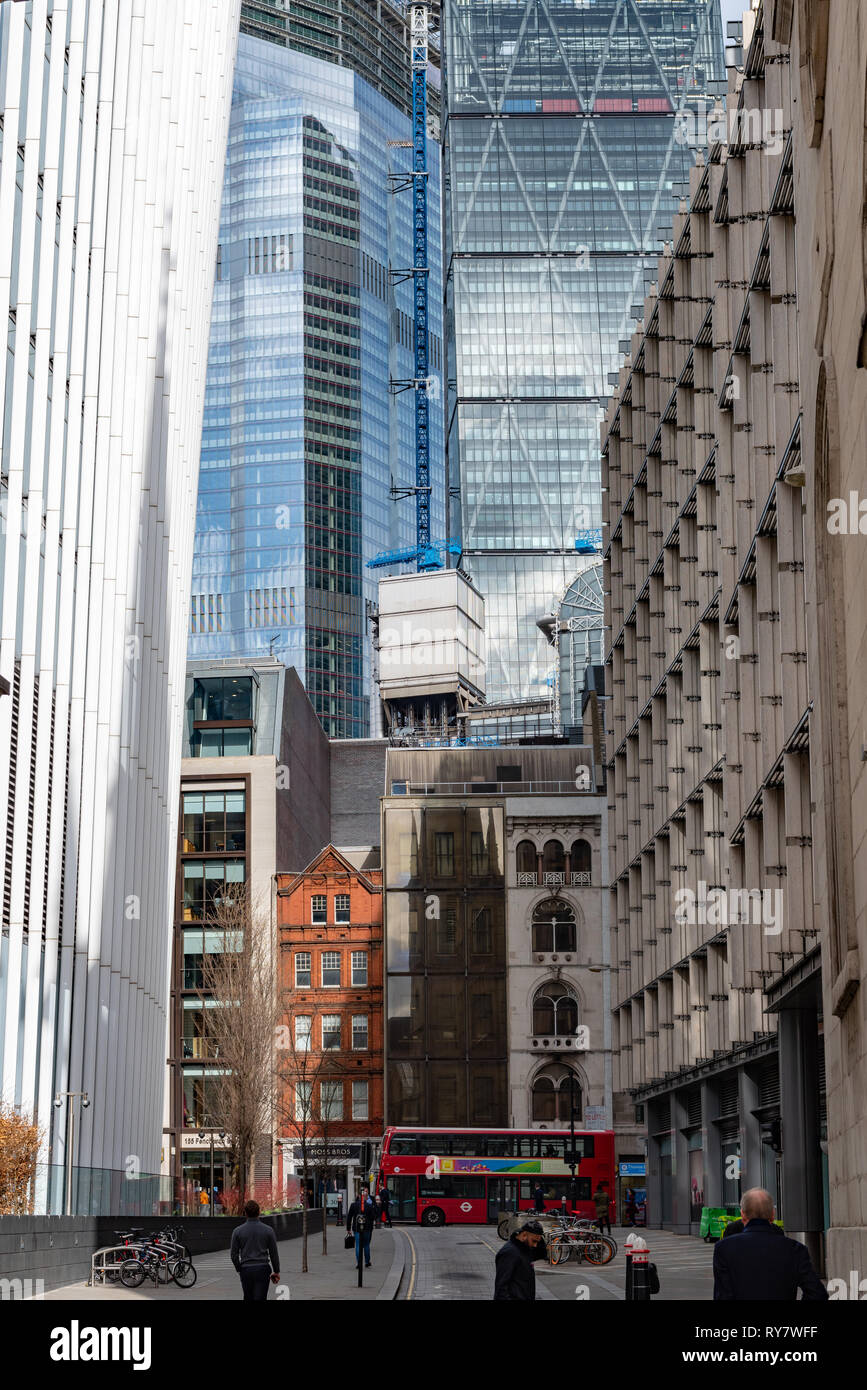 Fenchurch Street dominated by the trapping of banking and high finance - Stock Image