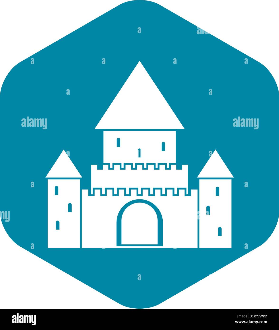 Chillon Castle, Switzerland icon, simple style - Stock Vector