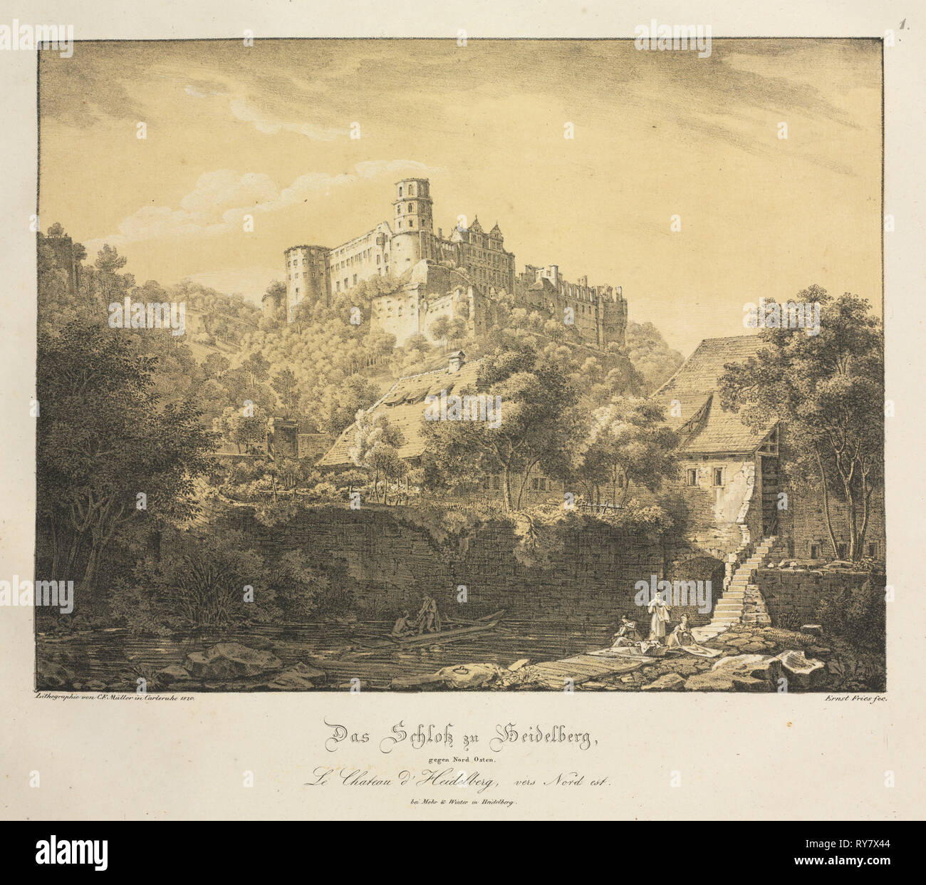 Six Views of Heidelberg Castle: Eastward , 1820. Ernst Fries (German, 1801-1833), Mohr & Winter, Heidelberg. Lithograph printed in black with two tint stones: pale ochre overall and grey selectively ; sheet: 38.5 x 50 cm (15 3/16 x 19 11/16 in - Stock Image