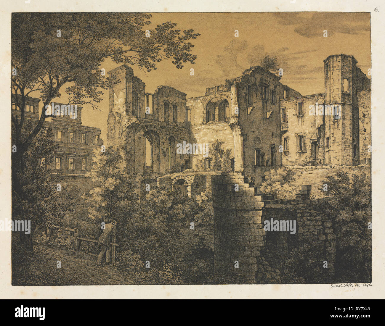 Six Views of Heidelberg Castle: Western Part , 1820. Ernst Fries (German, 1801-1833), Mohr & Winter, Heidelberg. Lithograph printed in black and a deep ochre tint stone overall; sheet: 38.5 x 50 cm (15 3/16 x 19 11/16 in - Stock Image