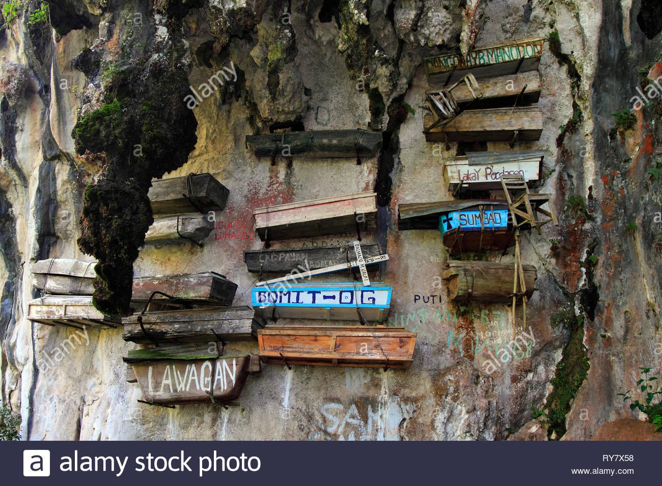 Hanging Coffins at Echo Valley, Sagada, Luzon, Philippines - Stock Image
