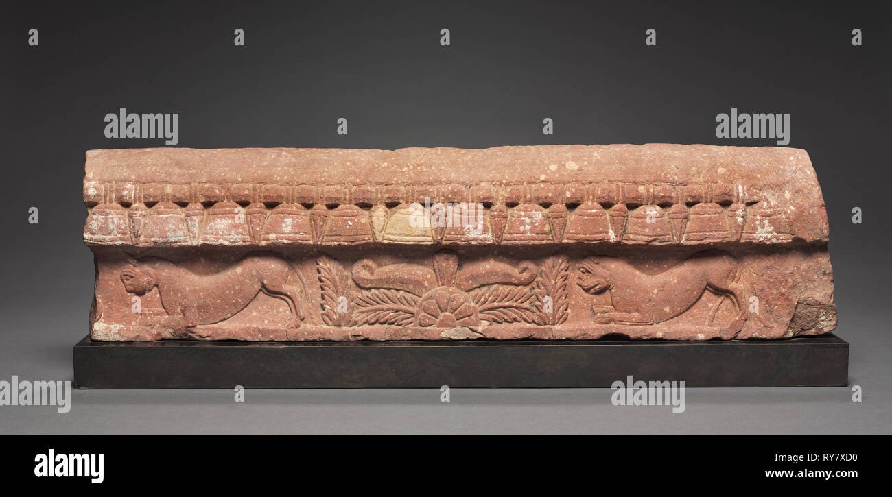 Section of a Coping Rail, 1st century. India, Mathura, early Kushan period, 1st century. Sandstone; overall: 17.5 x 69 x 6.5 cm (6 7/8 x 27 3/16 x 2 9/16 in - Stock Image