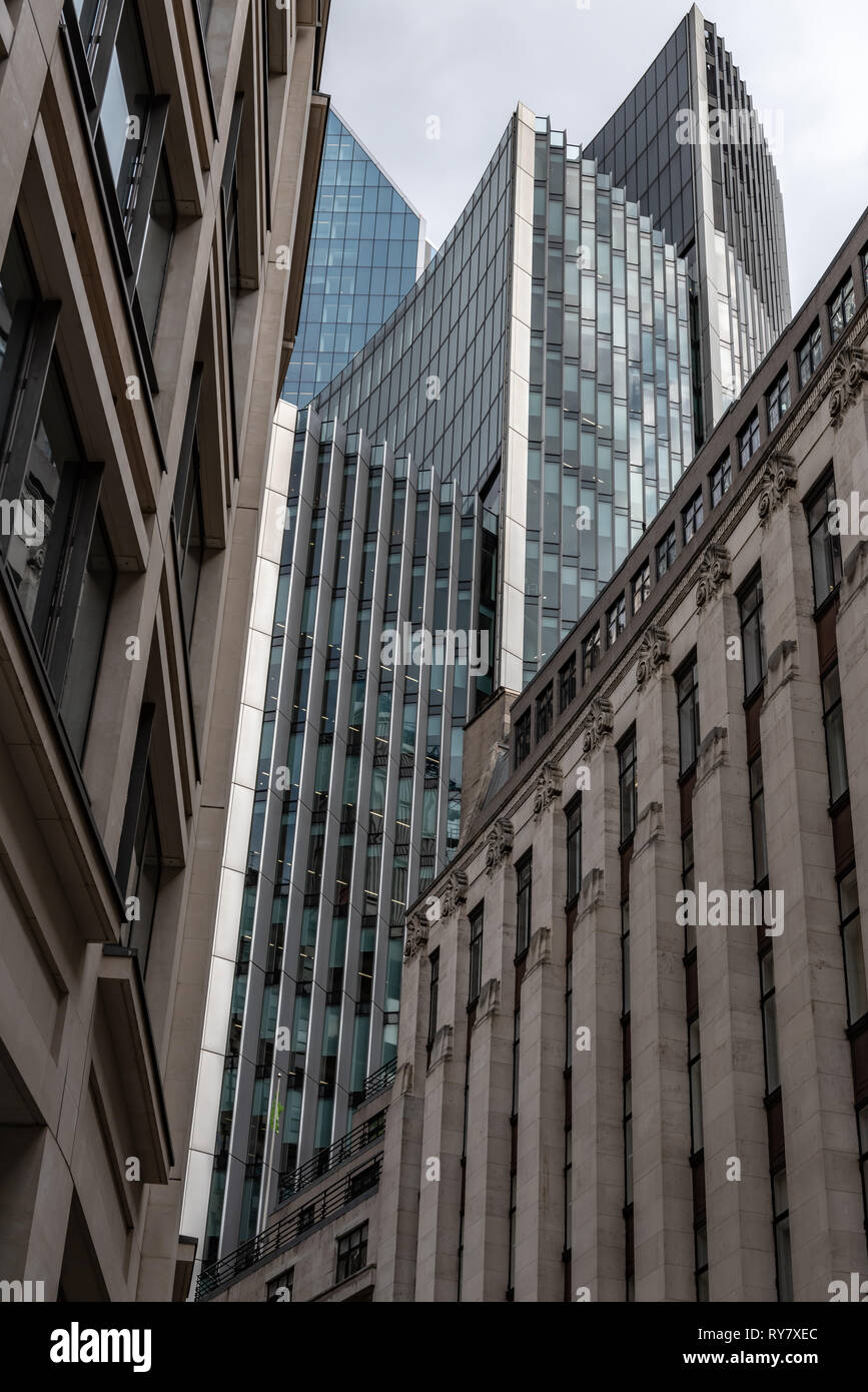 High finance, skyscrapers, Lime St, London - Stock Image