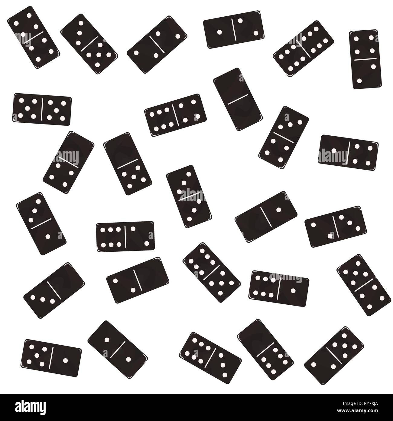 Domino flat, rectangular block. Black brick Vector illustration - Stock Vector